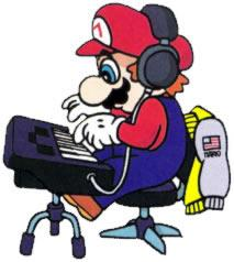 Mario playing synthesizer