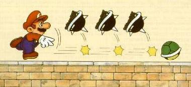 Mario bowling a shell towards three Thornies