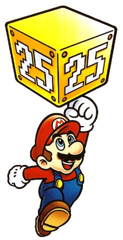 Mario jumping and punching a 25th anniversary block