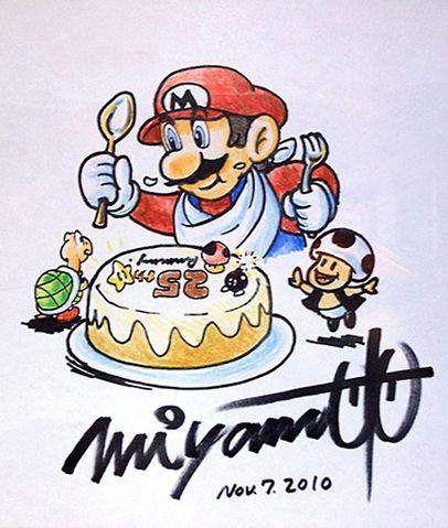 An artwork drawn by Shigeru Miyamoto of Mario eating his 25th birthday cake