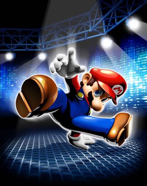 Mario breakdancing, full artwork from the games cover