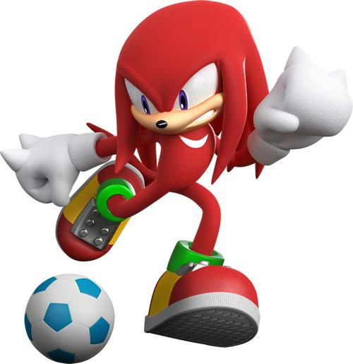 Knuckles the Echidna playing football