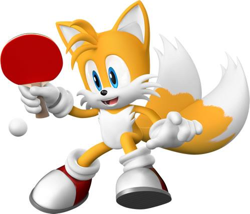 Miles Tails Prower Playing Table Tennis