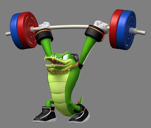 Vector the Crocodile weight lifting