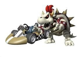 Dry Bowser Next To His Kart