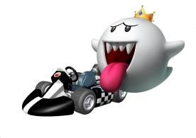 King Boo Next To His Kart
