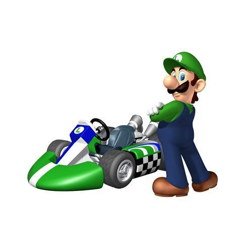 Luigi Next To His Kart