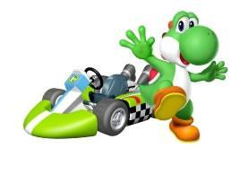 Yoshi Next To His Kart