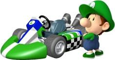 Baby Luigi Next To His Kart