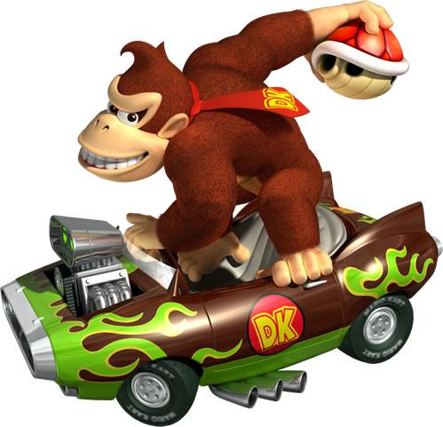 Donkey Kong Driving Kart And Holding Red Shell
