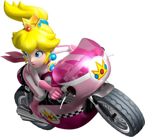 Peach Driving Motocycle