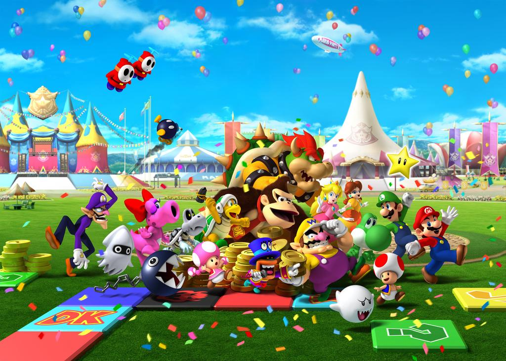 Mario Party 8 Wii Artwork Including Characters Logos