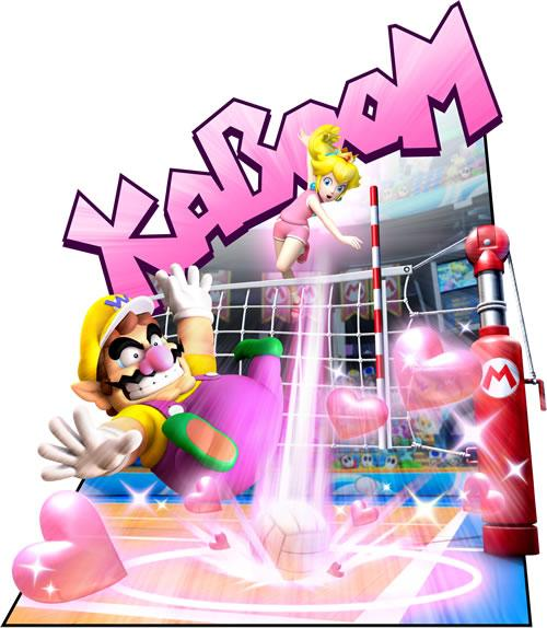 Wario And Peach Playing Volleyball