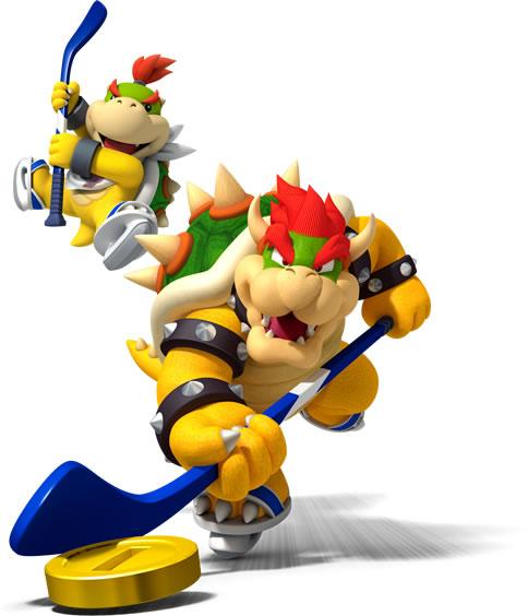 Bowser And Bowser Jr Playing Ice Hockey