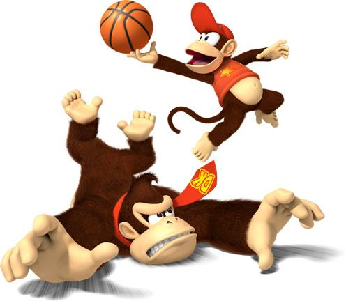 DOnkey kong And Diddy Kong Playing Basketball
