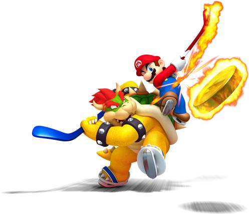 Bowser And Mario Playing Ice Hockey