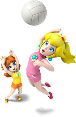 Peach And Diasy PLaying Volleyball