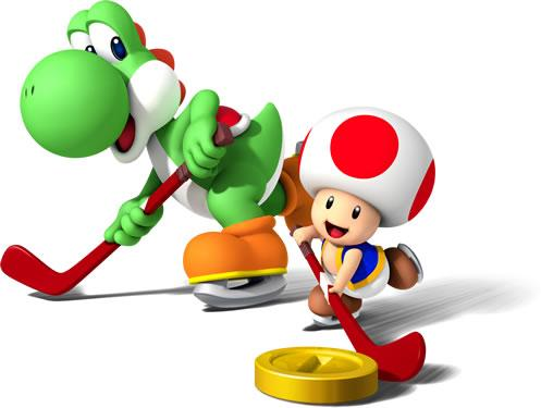 Yoshi And Toad Playing Ice Hockey