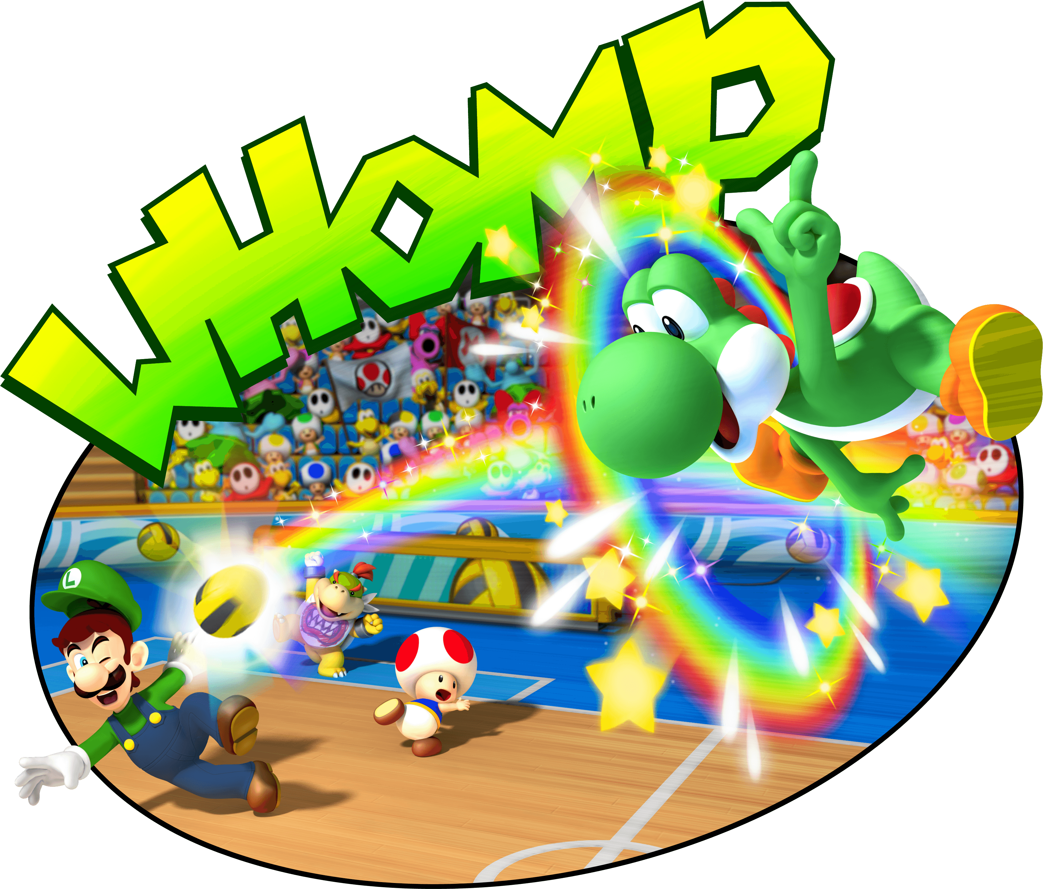 Yoshi Toad Luigi and Bowser Jr PLaying DodgeballYoshi And Bowser