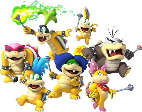 The Koopa Kids as they appear in New Super Mario Bros. Wii