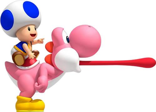 Blue Toad riding a Pink Yoshi