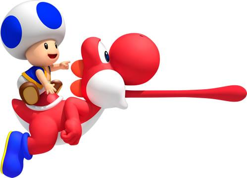Blue Toad riding a Red Yoshi