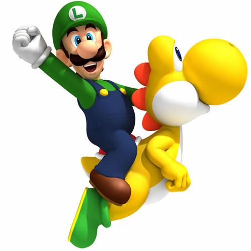 Luigi riding a Yellow Yoshi