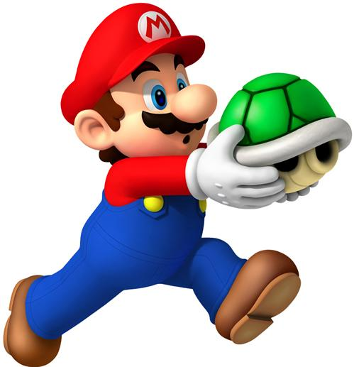 Mario Holding Green Shell