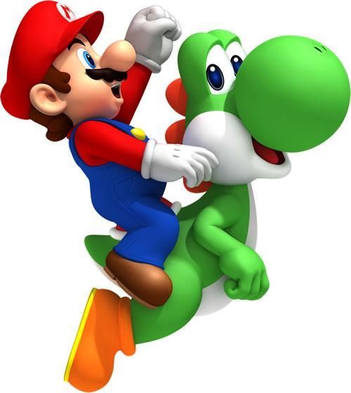 Mario riding Green Yoshi