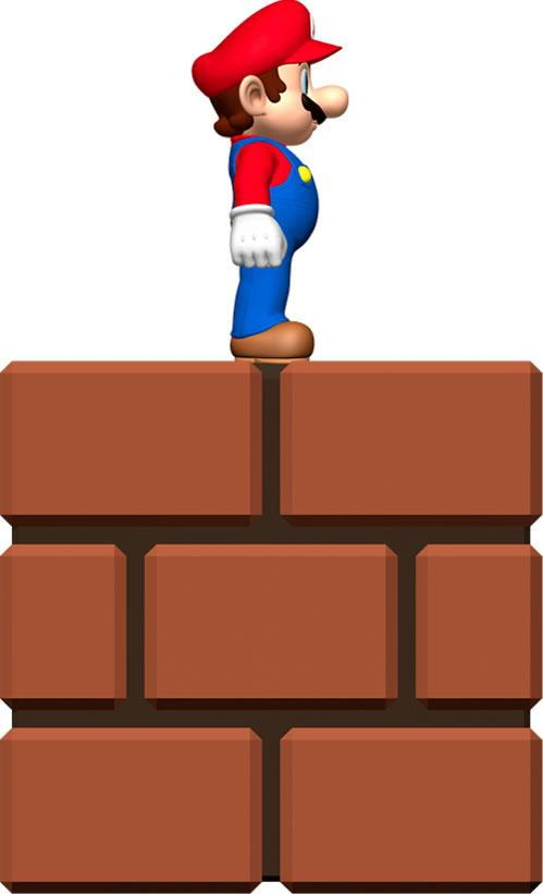Mini Mario On Bricks
