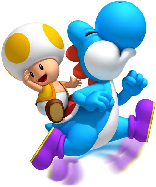 Yellow Toad riding a Light Blue Yoshi
