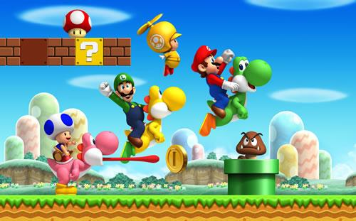A group artwork featuring the playable characters of New Super Mario Bros Wii