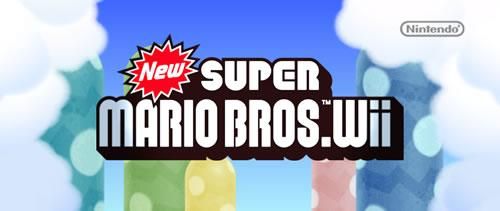 The startup screen for NSMB Wii