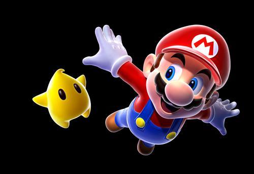 Mario soaring past a Luma