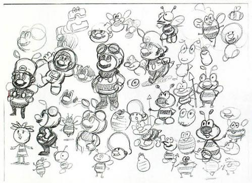Concept arts of Bee Mario