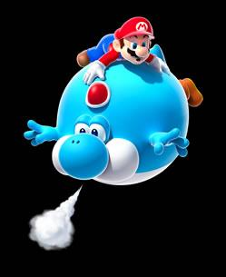 Mario on Blimp Yoshi