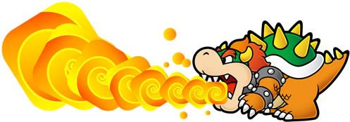 Bowser Using Breath Flame