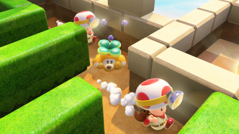 Captain Toad with a double cherry running through a maze based level.