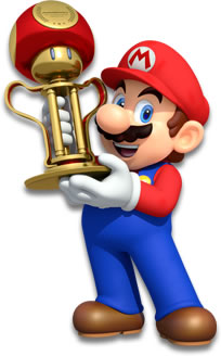 Mario holding the Mushroom Cup trophy