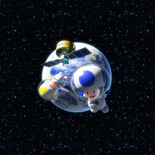 A blue and yellow Toad in space