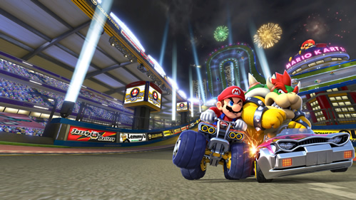 Mario and Bowser racing on Mario Kart Stadium
