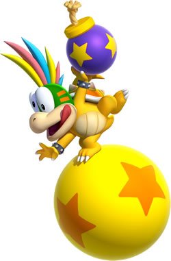 Lemmy Koopa with a star patterned bomb