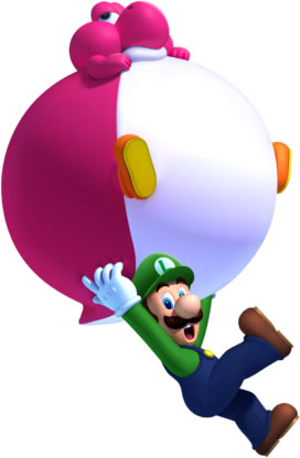 Luigi with the Balloon Baby Yoshi