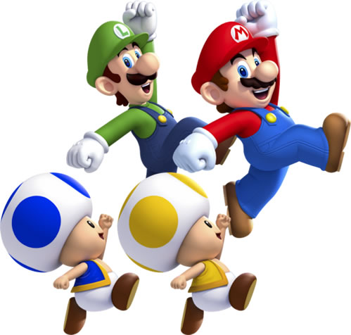 Mario Luigi Blue Toad and Yellow Toad