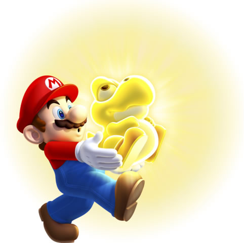 Mario carrying a Glowing Baby Yoshi Solo art