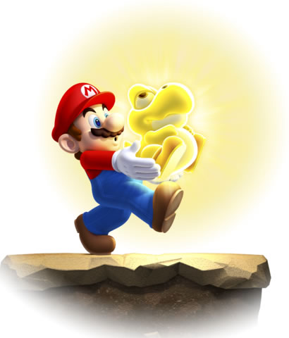 Mario carrying a Glowing Baby Yoshi off an edge