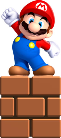 Small Mario standing on the wall