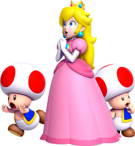 Princess Peach and two Toads