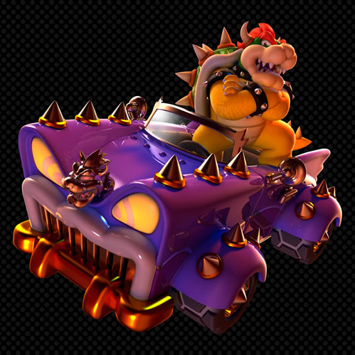 Bowser in the car