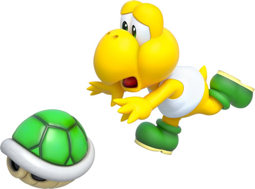 Koopa crying and chasing after its shell